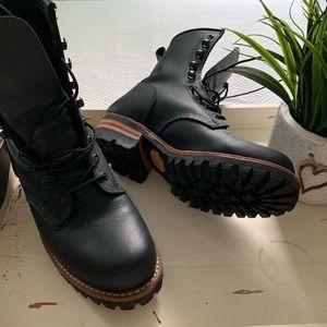 Frye logger boots.